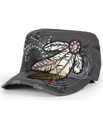 Savana Women's Feather Embroidery and Rhinestones Military Hat, , hi-res
