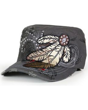 Savana Women's Feather Embroidery and Rhinestones Military Hat, Grey, hi-res
