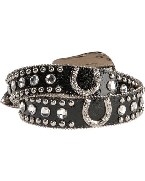 Blazin' Roxx Women's Horseshoe Bling Belt, Black, hi-res