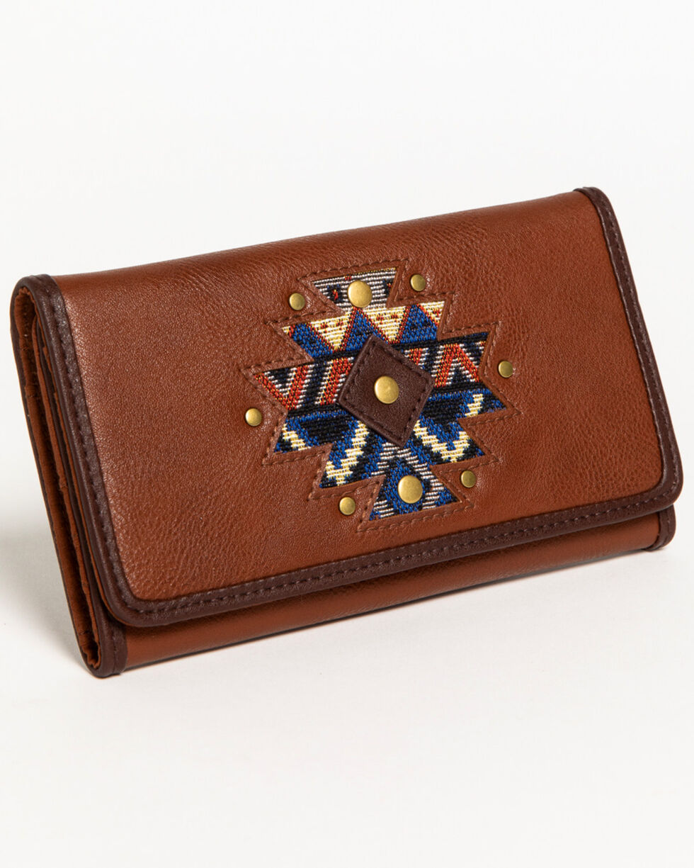 Shyanne Women's Aztec Inlay Wallet, Brown, hi-res