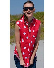 Dizzie Lizzie Women's Sun Valley Polka Dot Fringe Shirt , , hi-res