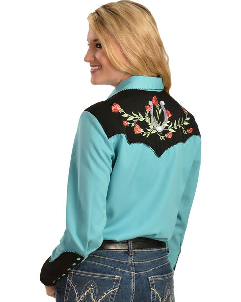 Scully Women's Embroidered Horseshoe Western Shirt, Turquoise, hi-res