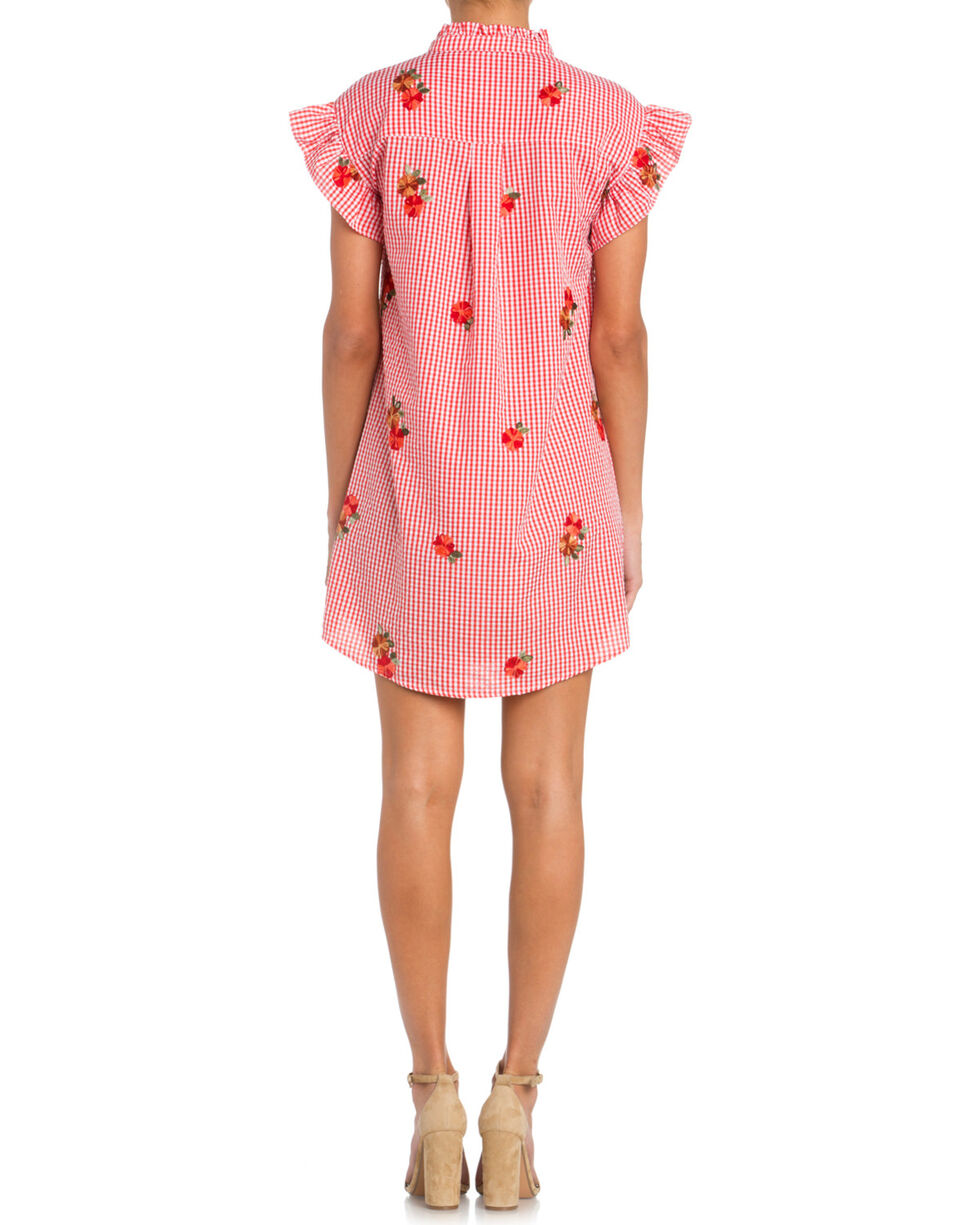 Miss Me Women's Gingham Embroidered Dress, , hi-res