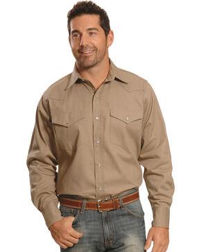 Crazy Cowboy Men's Beige Western Work Shirt - Big & Tall, Beige, hi-res