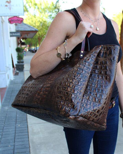 SouthLife Supply Women's Chocolate Croc Medium Bucket Bag, Chocolate, hi-res
