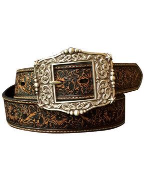 Roper Women's Brown Floral Embossed Belt , Dark Brown, hi-res