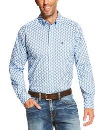 Ariat Men's Light Blue Raymer Long Sleeve Print Shirt , , hi-res