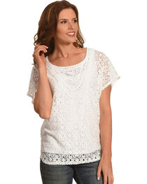 Ruby Rd. Women's Scoop Neck Lace Butterfly Top, , hi-res