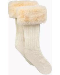 UGG Women's Cream Faux Fur Tall Rain Boot Socks , , hi-res
