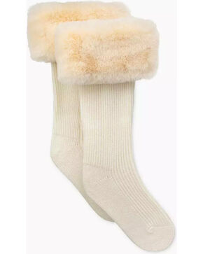 UGG Women's Cream Faux Fur Tall Rain Boot Socks , Cream, hi-res