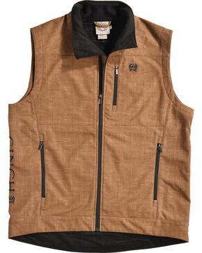 Cinch Men's Embroidered Logo Bonded Vest, Brown, hi-res