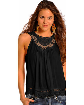 Panhandle Slim Women's Crochet Lace Inset Tank Top , Black, hi-res