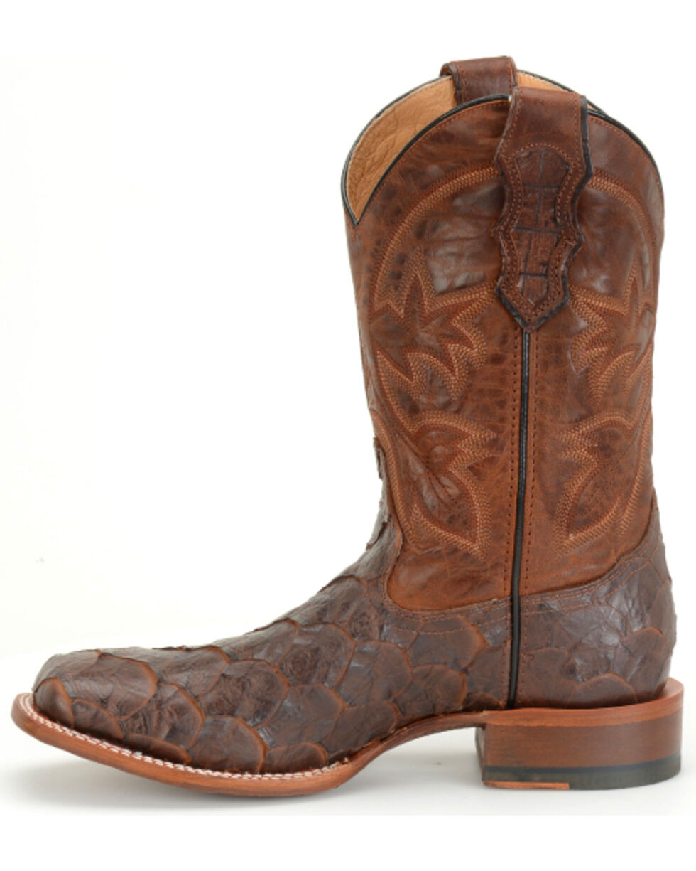Double H Men's Cattle Baron Sea Bass Print Western Boots, Brown, hi-res