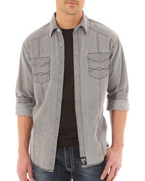 Rock 47 by Wrangler Men's Long Sleeve Western Shirt, Grey, hi-res