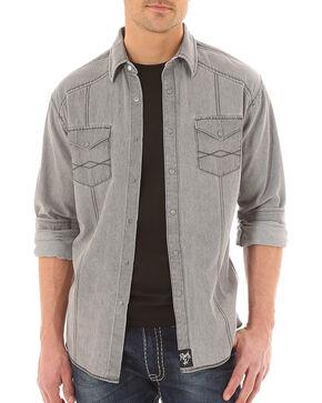 Rock 47 by Wrangler Men's Long Sleeve Western Shirt, Grey, hi-res