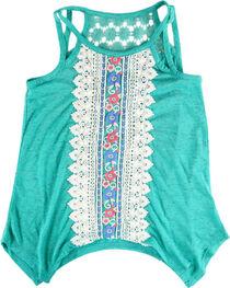 Self Esteem Girls' Floral Lace Tank Top  , Turquoise, hi-res