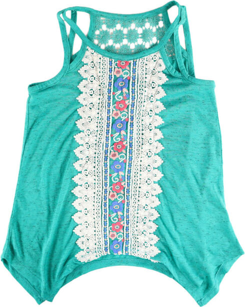 Self Esteem Girls' Floral Lace Tank Top  , Turquoise, hi-res