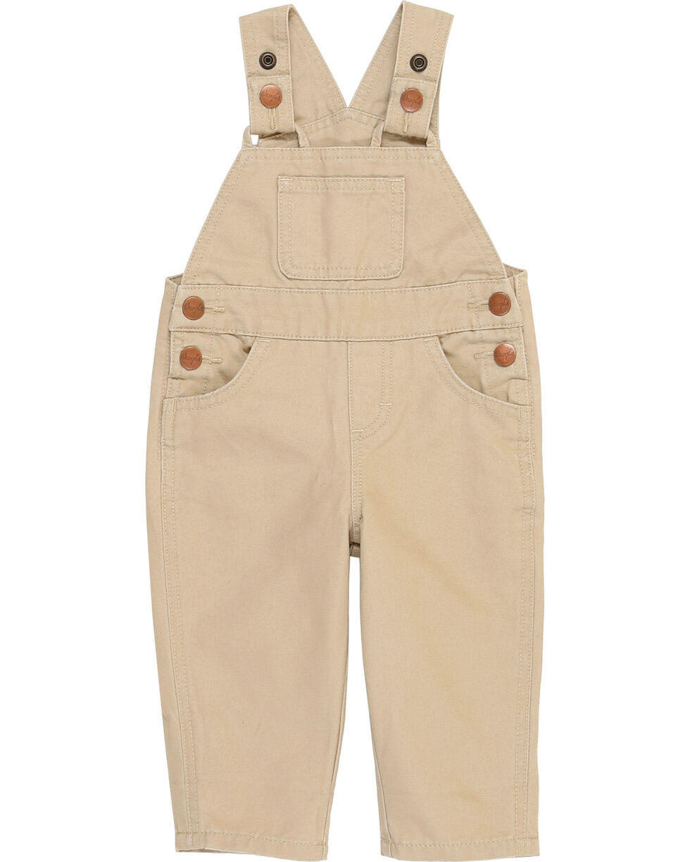 Wrangler® Infant Boy's Tan Baby Bib Overalls , Tan, hi-res