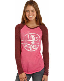 Rock & Roll Cowgirl Women's Pink Life's A Rodeo Baseball Tee , , hi-res