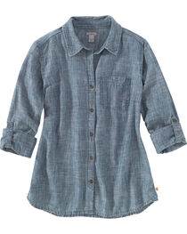 Carhartt Women's Denim Button Up Shirt, , hi-res