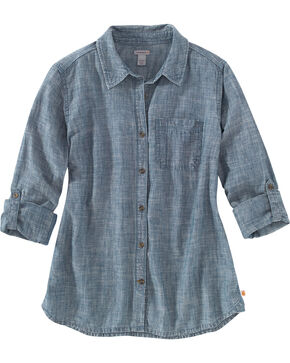 Carhartt Women's Denim Button Up Shirt, Indigo, hi-res