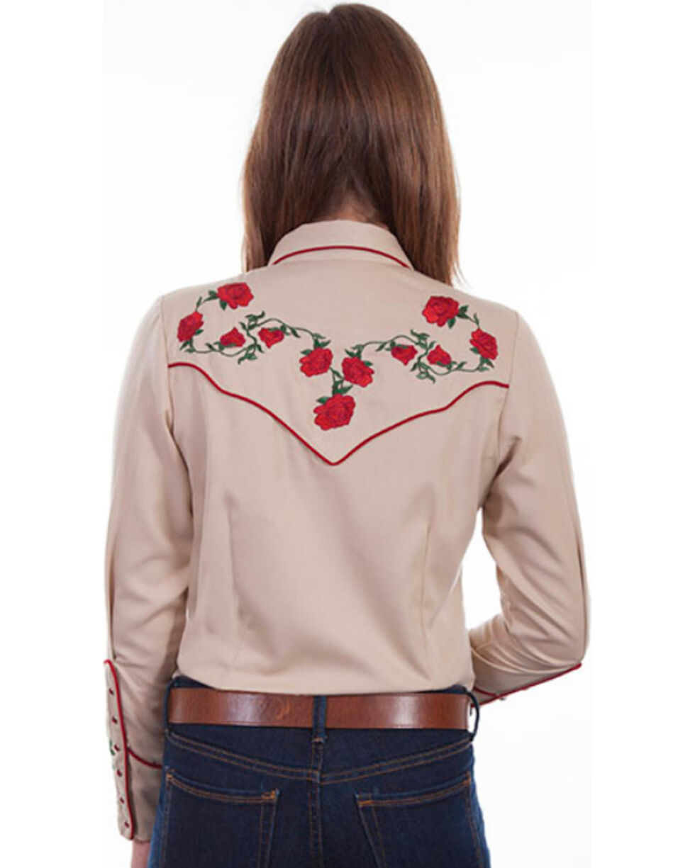 Scully Women's Red Rose Embroidered Western Shirt, Tan, hi-res