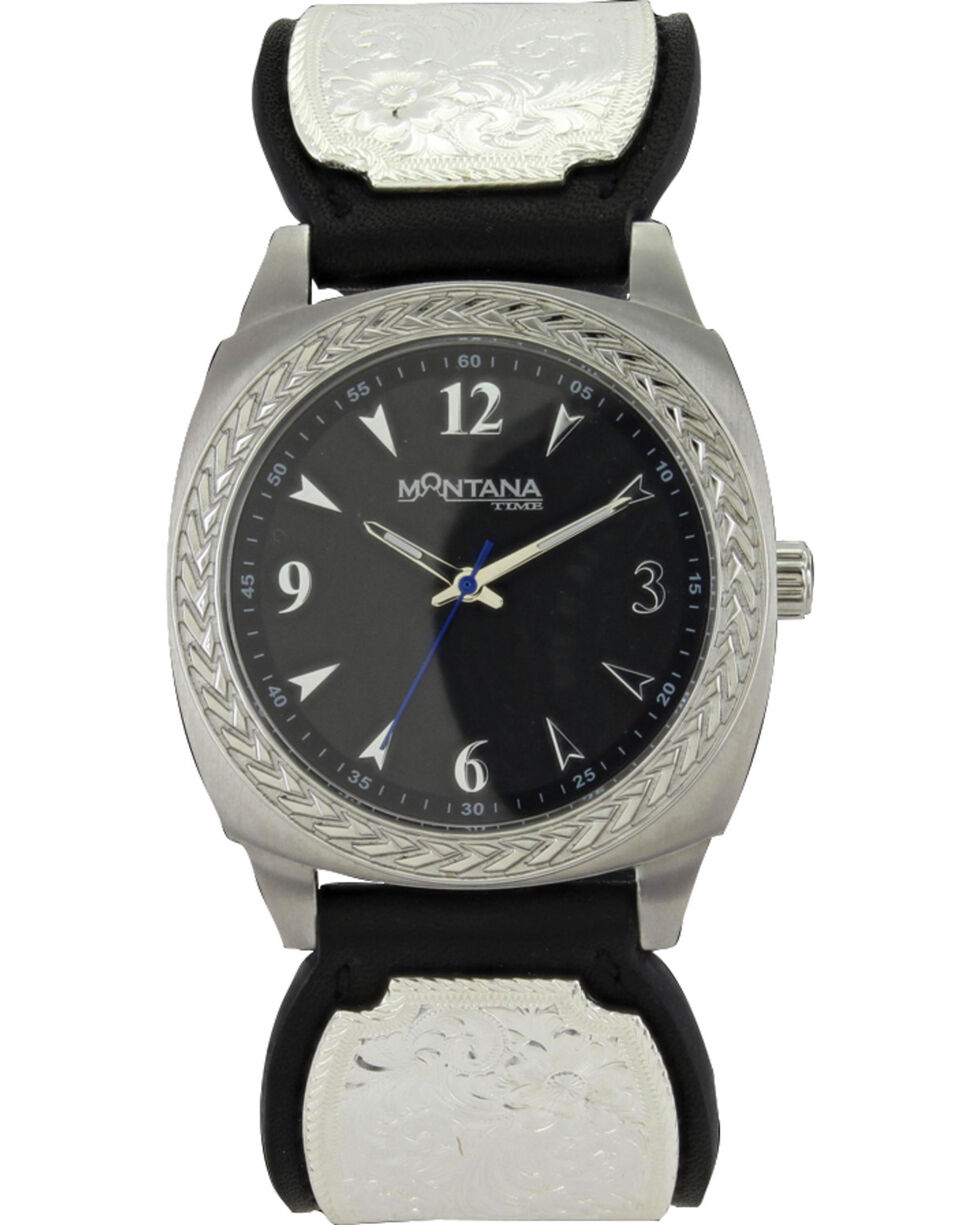 Montana Silversmiths Men's Stroke Of Midnight Leather Band Watch , Silver, hi-res