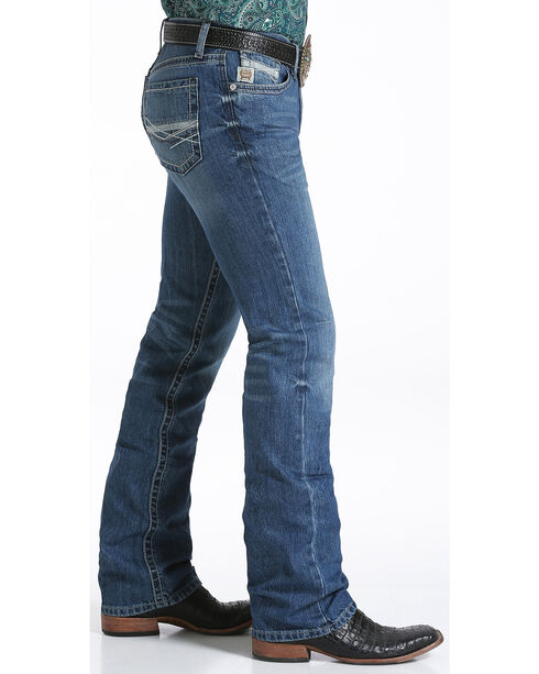 Cinch Men's Stonewash Ian Mid Rise Slim Fit Boot Cut Jeans, Indigo, hi-res