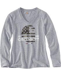 Carhartt Women's Grey Lubbock Graphic Filled Flag T-Shirt , , hi-res