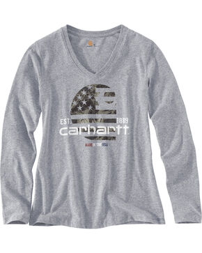 Carhartt Women's Grey Lubbock Graphic Filled Flag T-Shirt , Heather Grey, hi-res