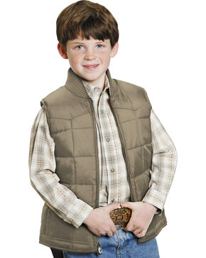 Roper Boys' Rangegear Quilted Nylon Vest, Brown, hi-res