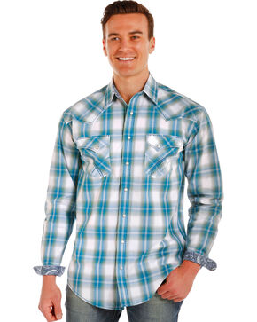 Rough Stock by Panhandle Men's Mapleton Ombre Plaid Long Sleeve Snap Shirt, Blue, hi-res