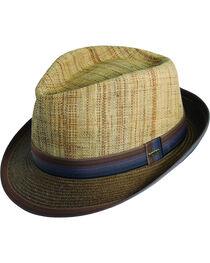 Scala Men's Brown Raffia & Paper Braid Fedora Hat, , hi-res