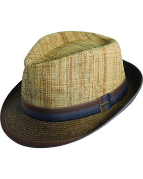 Scala Men's Brown Raffia & Paper Braid Fedora Hat, Brown, hi-res