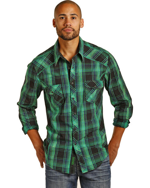 Rock & Roll Cowboy Men's Long Sleeve Satin Plaid Snap Shirt, Green, hi-res