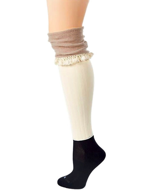 Darby's Women's Betsy Burlap Boot Tights, Cream, hi-res