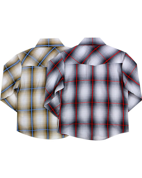 Ely Cattleman Boys' Assorted Washed Plaid Long Sleeve Shirt, Multi, hi-res