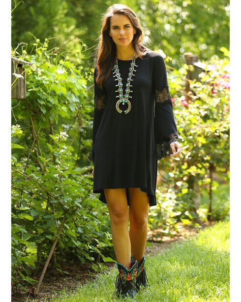 Wrangler Women's Black Crochet Bell Sleeve Dress , Black, hi-res