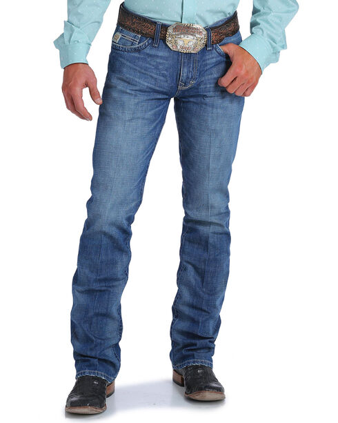 Cinch Men's Ian Medium Stonewash Slim Fit Jeans - Boot Cut, Indigo, hi-res