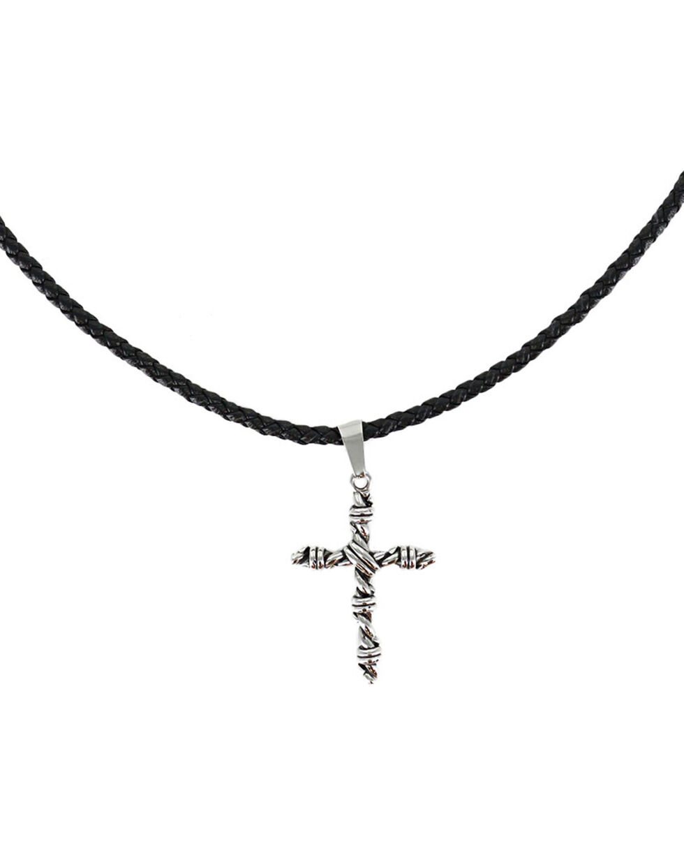 Cody James® Men's Twisted Rope Cross Necklace , Silver, hi-res