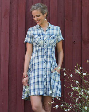 Ryan Michael Women's Indigo Ketchum Plaid Swing Dress , Indigo, hi-res