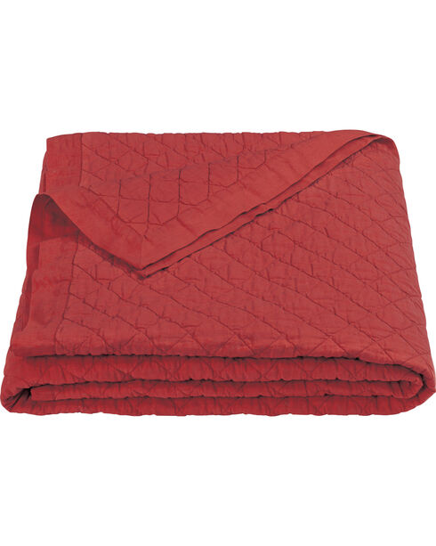 HiEnd Accents Diamond Pattern Red Linen King Quilt, Red, hi-res