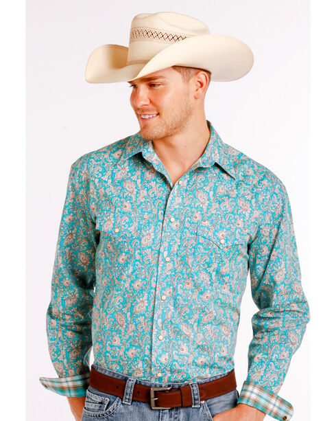 Rough Stock by Panhandle Men's Floral Patterned Long Sleeve Shirt, Blue, hi-res