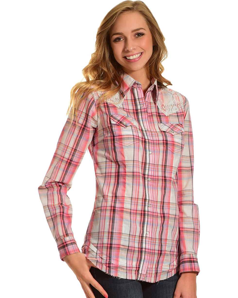 Wrangler Women's Lace Plaid Long Sleeve Western Snap Shirt, Cream, hi-res