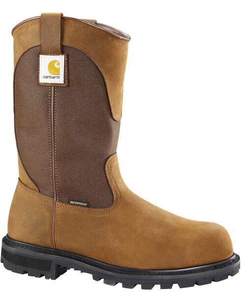 Carhartt Waterproof Wellington Pull-On Work Boots - Steel Toe, Brown, hi-res