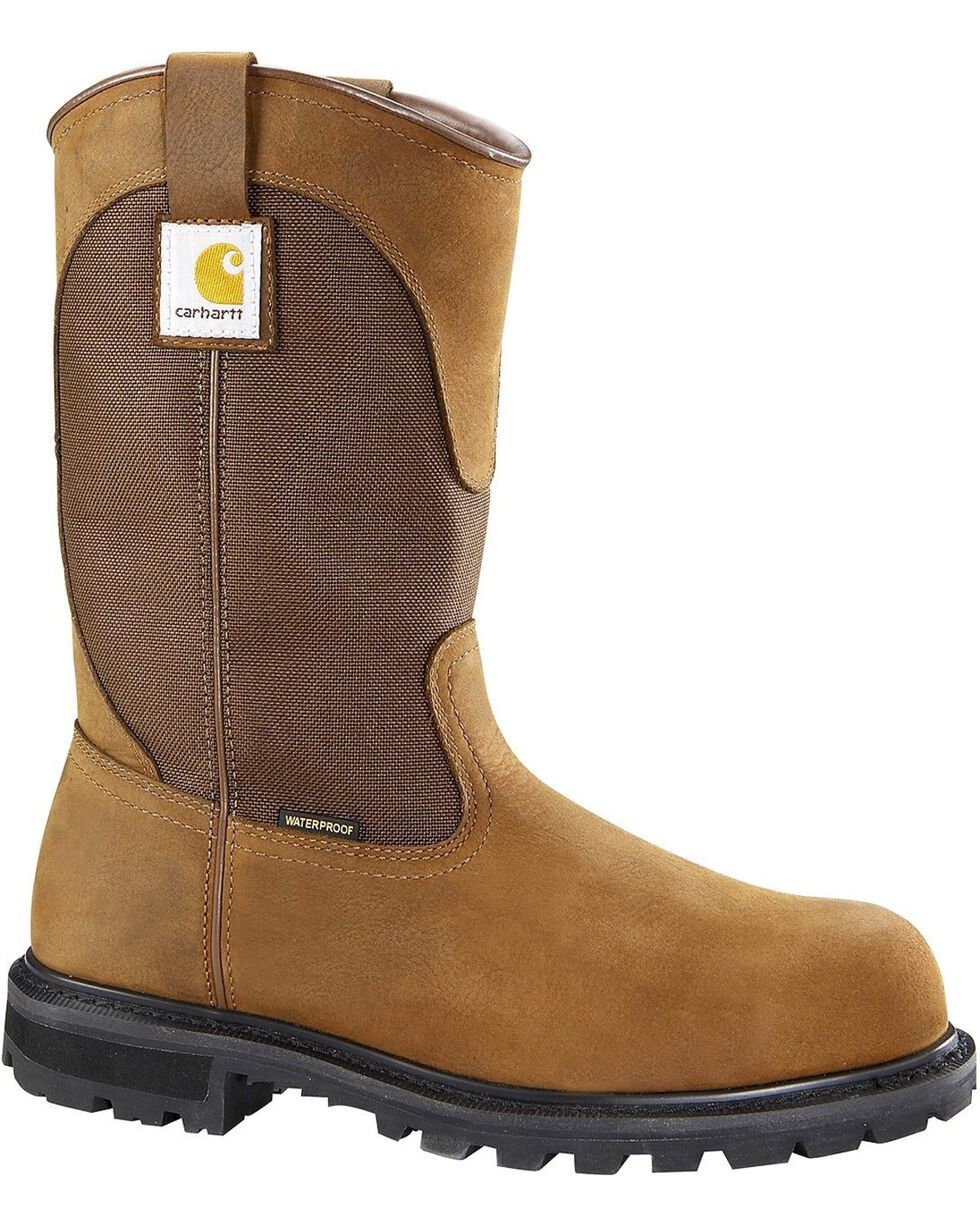 Carhartt Waterproof Wellington Pull-On Work Boots - Steel Toe, Brown, hi-res