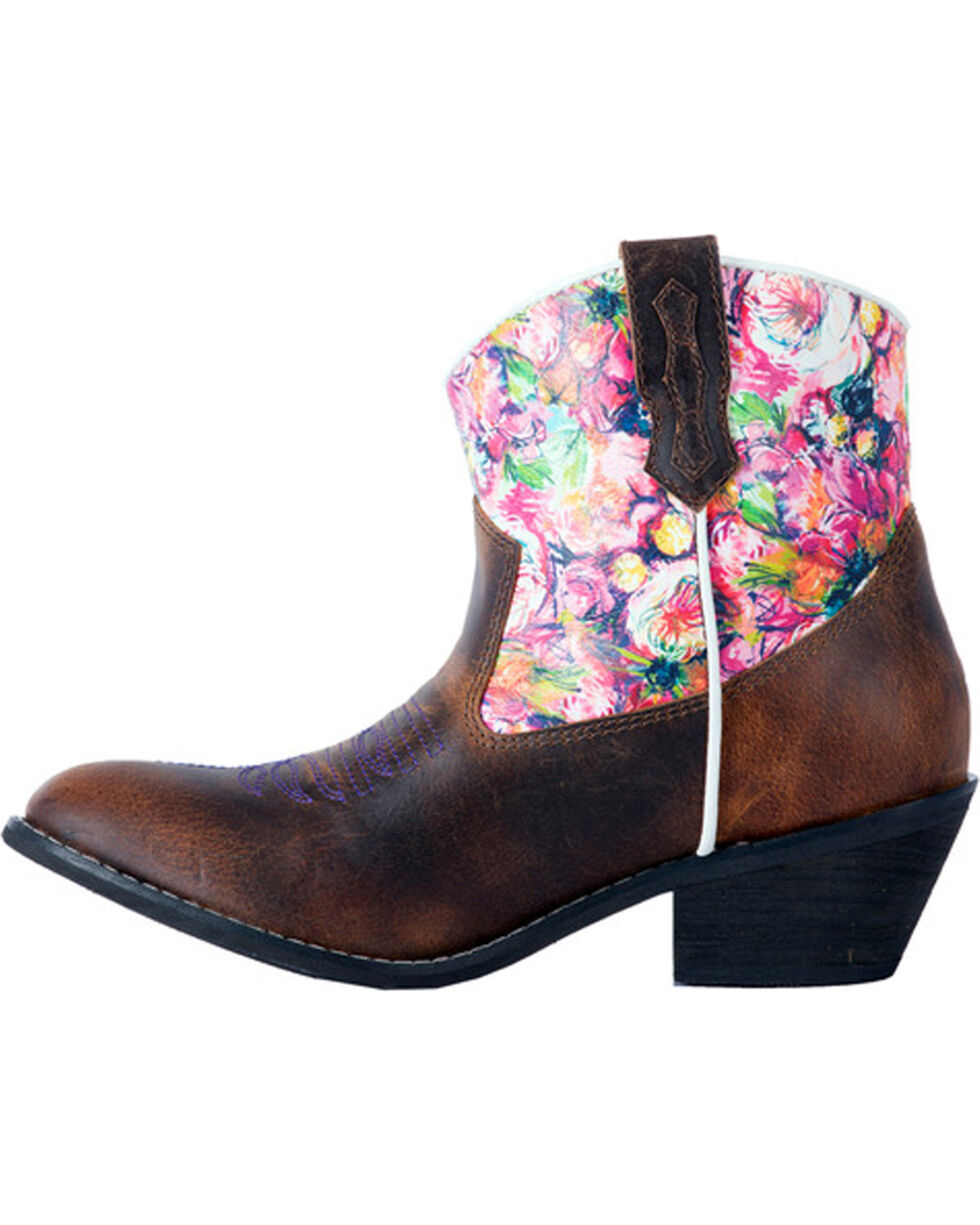 Laredo Women's Blossom Floral Pastel Ankle Boots - Round Toe, , hi-res