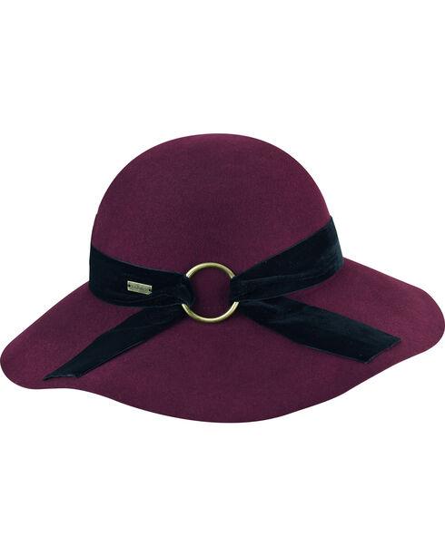 Betmar Women's Wharton Cranberry Wide Brim Floppy Hat, Red, hi-res