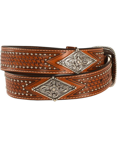 Ariat Studded Basketweave Leather Belt, Tan, hi-res