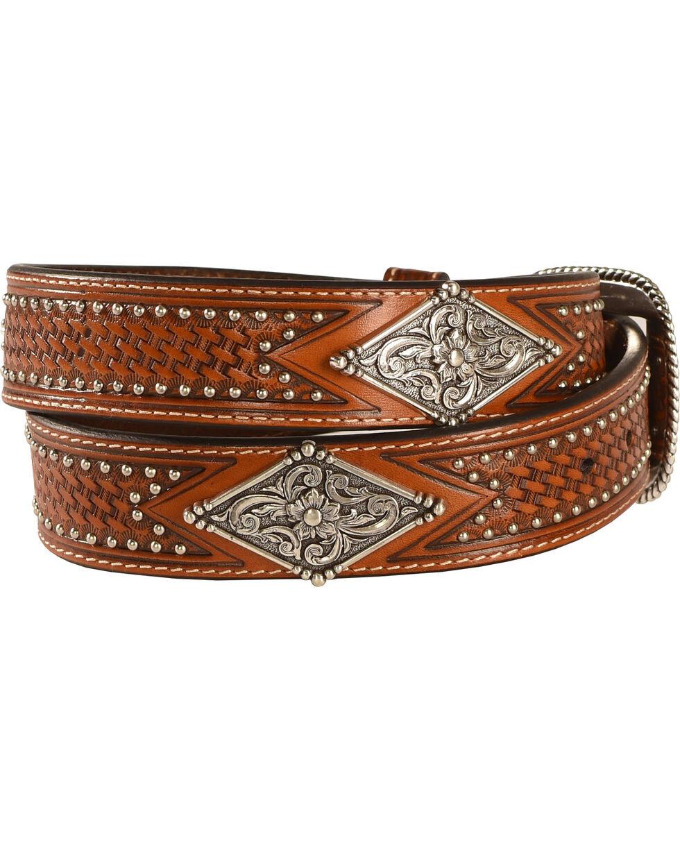 Ariat Studded Basketweave Leather Belt, Tan, hi-res